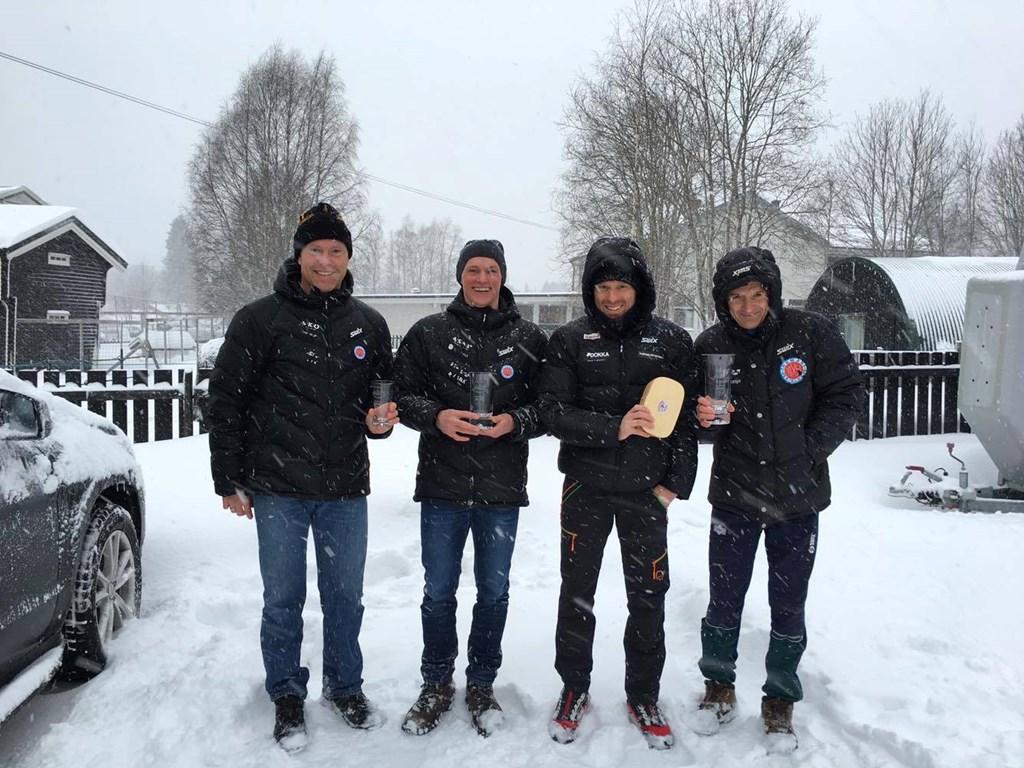 Fire glade skiløpere fra Hamar Skiklubb. Fra venstre Torleiv Yli Myre, Hans Tore Riibe, Vidar Igeltjørn og Morten E. Lund.