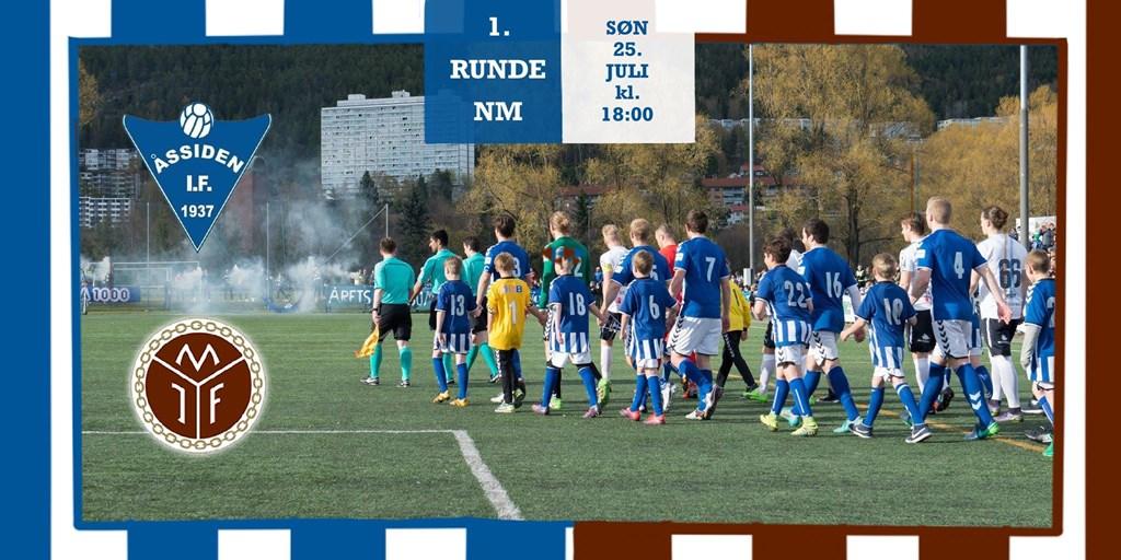 Kan være et bilde av 1 person, spiller fotball, står, utendørs og tekst som sier '1. RUNDE NM SON 25. JULI kl. 18:00 ASSIDEN I.F. 1937 1000 ARFTS M IF'