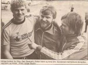 Petter Holm, Arne Christian Gundersen, Geir Daasvatn etter åpningskamp mot Lyngdal i 1981