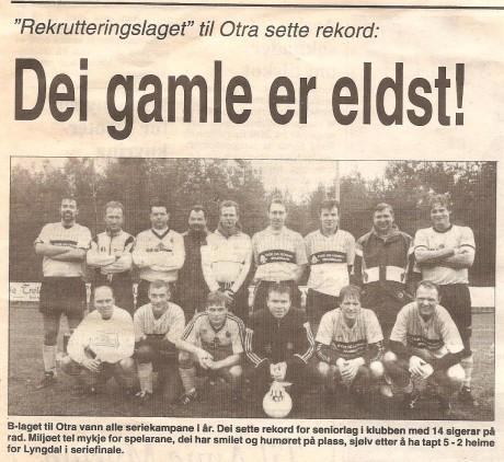 Lagbilde etter kretsfinalen for rekrutteringslag i 1994 mot Lyngdal
