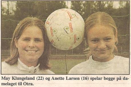 May Gautestad og Anette Larsen på damelaget i 1998