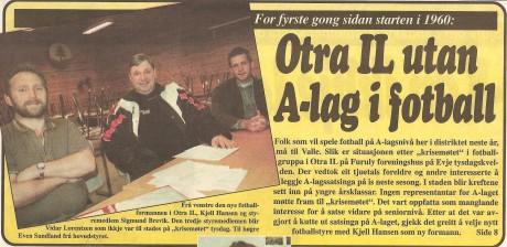 Kjell Hansen, Sigmund Brevik og Even Sandland etter krisemøtet høsten 1999