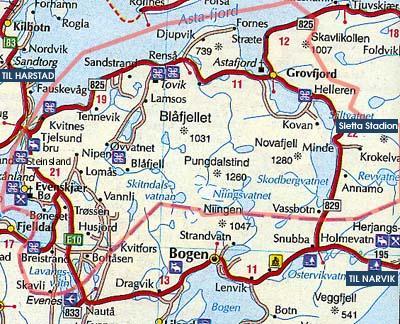 Kart over Skånland kommune