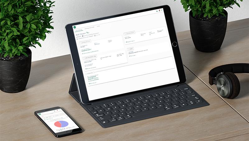 Visning av Digital Personal på laptop og mobiltelefon