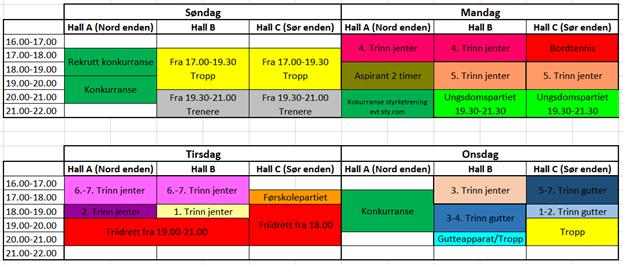 Bilde av tabell med treningstider