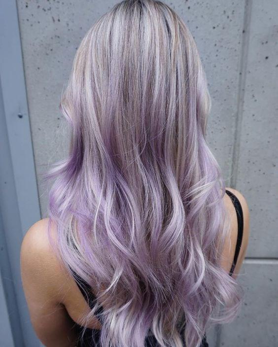 pastel purple hair with lowlights