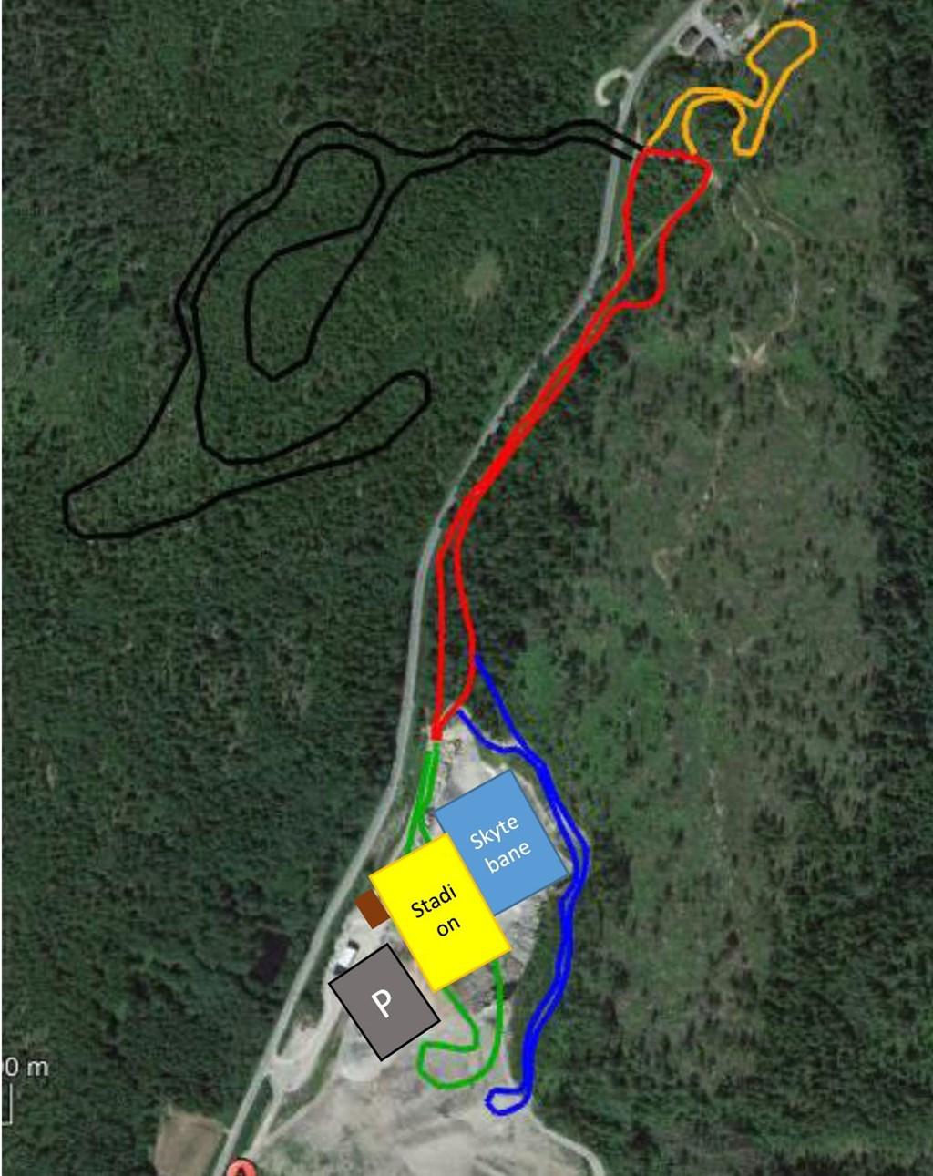 LØYPEKART: Slik ser man for seg løypenettet rundt forslaget ved skianlegget i Rambydalen. Det er løypedesigner i Norges skiforbund, John Aalberg som står for forslagene.
