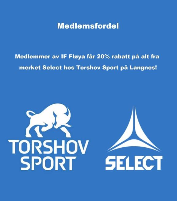 Medlemmer av IF Fløya får 20% rabatt på alt fra merket Select hos Torshov Sport på Langnes